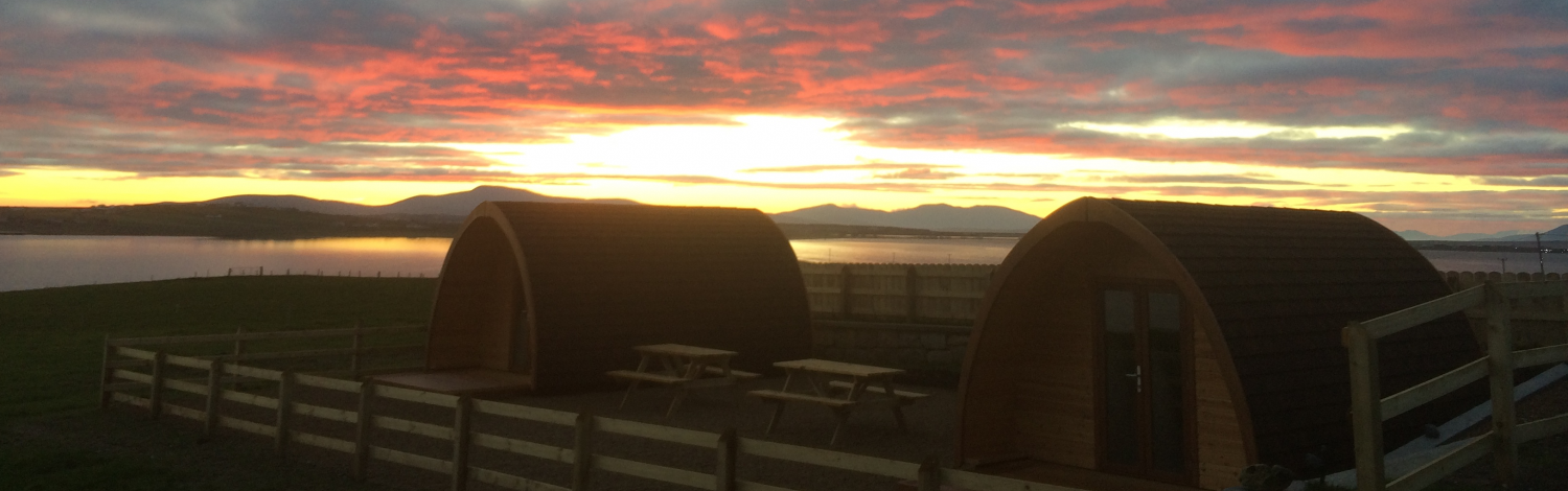 Luxury Glamping Pods with Red Sky Sunset